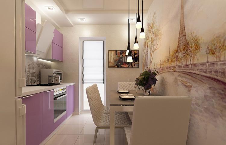 Дизайн вытянутой кухни 15 кв м с диваном.