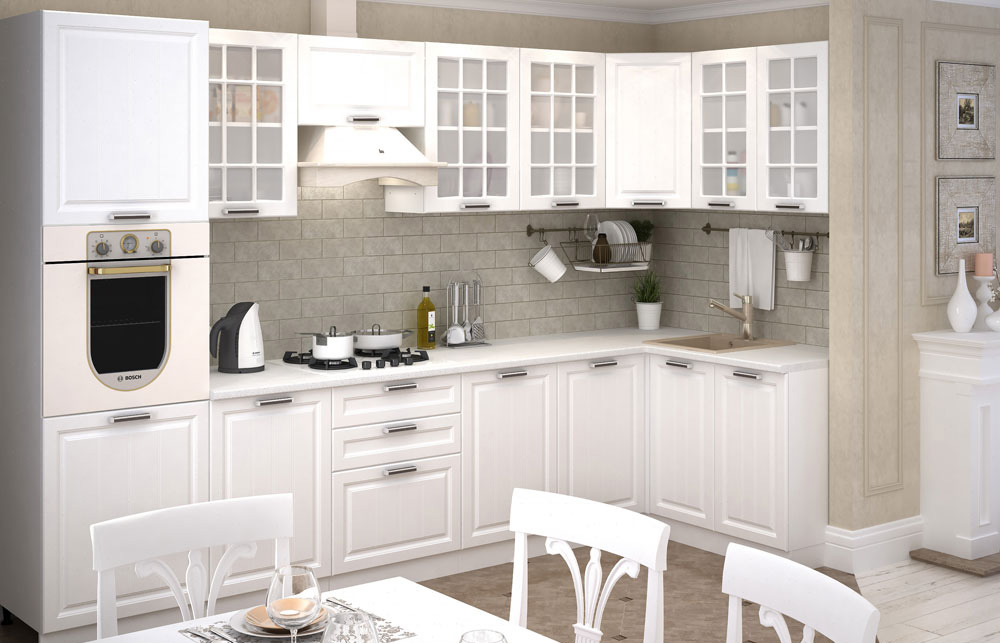 белые кухонные гарнитуры угловые фото